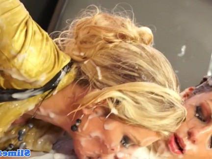 Милфа порно Bukakke Лесбос cumcovered на gloryhole секс видео