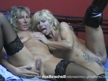 Милфа порно Немецкая бабулька в чулках лижет пиздену замужней лярвы с множеством проколов секс видео