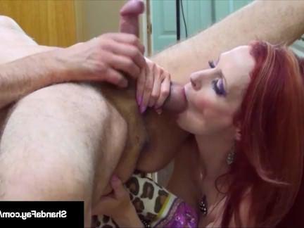 Милфа порно Рыжая бестия со здоровой грудью отсасывает парню и лижет его анус секс видео